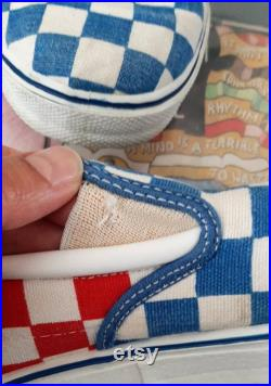 1980s Blue,White, and Red checkered board slip on sneakers by Trax.Mens size 7 1 2