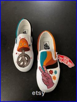 70's Hippie Vans, Custom Handpainted Shoes