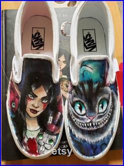 Alice in Wonderland custom Vans shoes