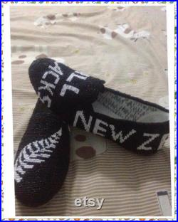 All black beads shoes sewing handmade
