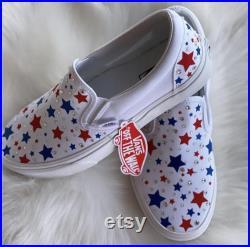 America vans slip on Star Vans Patriotic vans Bling vans Swarovski