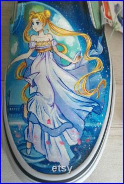 Anime shoes,manga shoes,custom vans shoes,hand painted shoes,anime fan gift ,hand painted