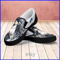 Attack on Titan Shoes, Attack on Titan Slip on Shoes, AoT Fan Custom Shoes, Levi Ackerman Shoes, Personalized Shoes, AOT Shoes, Eren Jaeger