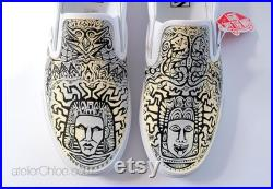 Aztec Vans Shoes, Boho Shoes, Ethnic Vans, Tribal Shoes, Ombre Vans, Totem Shoes, Hand Painted Vans, Custom Sneakers, gift