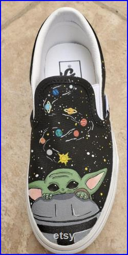 Baby Yoda Grogu Custom Hand Painted Vans