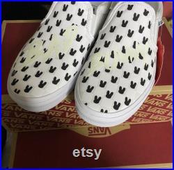 Bad Bunny Glow in the Dark Vans White Checkered Custom