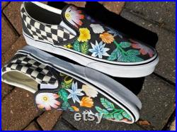 Beachy Floral Vans Slip On's (Classic or Checkered)