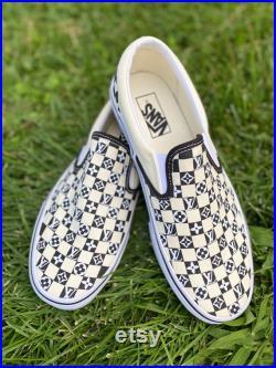 Black on White Louis V Custom Vans, Christmas Gifts, Custom Shoes, Custom Christmas Gift