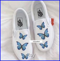 CUSTOM Slip on Vans Butterflies