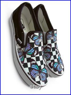 Checkerboard Blue Monarch Butterfly Custom Vans Brand Slip-on Shoes