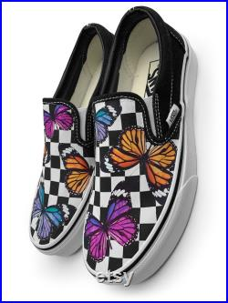 Checkerboard Colorful Monarch Butterfly Custom Vans Brand Slip-on Shoes