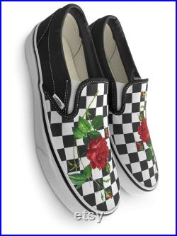 Checkerboard Rose Custom Vans Brand Slip-on Shoes
