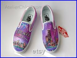Chicago Skyline Vans Shoes, Custom painted Vans Slip On, Personalized Vans Shoes, City Skyline Shoes, Vans Shoes Gift