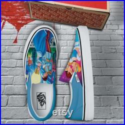 Cinderella Hand Painted Shoes, Custom Sneakers Slip On Vans, Unisex Vans Slip On, Gift for boy girl VSO26