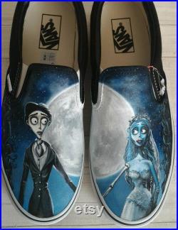Corpse bride,Tim Burton movies,corpse bride shoes,custom vans shoes,hand painted shoes,unique wedding shoes,custom bridal shoes,hand painted
