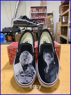 Custom Back To The Future Inspired Black Slip On Vans (Marty Doc)