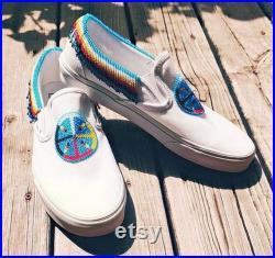 Custom Beaded Vans slip-ons