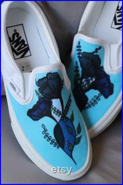 Custom Hand Drawn Vans Slip On Shoes Vans Custom Men's Shoes Custom Women's Shoes Hand Drawn Flower Shoes Flower Patterned Vans Blue Shoes