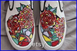 Custom Hand Drawn Vans Slip On Shoes Vans Custom Men's Shoes Custom Women's Shoes Hand Drawn Shoes Geometric Patterned Vans Floral Shoes