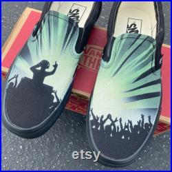 Custom Hand Painted DJ Party Rave Vans, Vans Slip-Ons