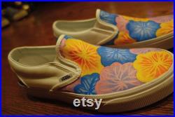 Custom Hand Painted Flower Slip on Vans