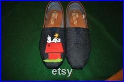 Custom Hand Painted Snoopy design. snoopy on his house on Mens Toms denim and leather. sorry sold