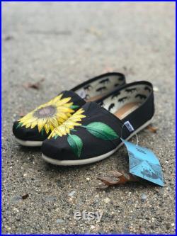 Custom Hand Painted Sunflower Toms in Black