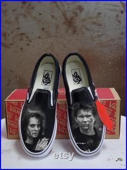 Custom Heathers Inspired Black Slip On Vans (Verionica J.D.)