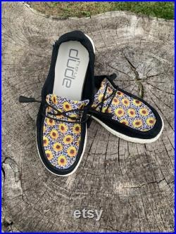 Custom Leopard Sunflower Print Hey Dudes