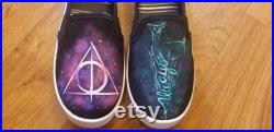 Custom Painted Harry Potter inspired shoes Hogwarts inspired shoes Harry Potter shoes
