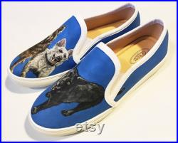 Custom Painted Shoes with Dog Portraits