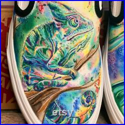 Custom Painted Vans Jungle Rainforest Chameleon and Tree Frog