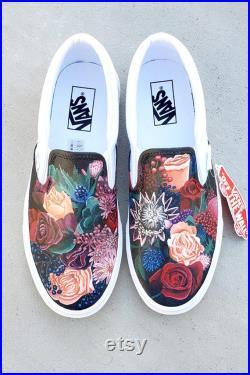 Custom Painted Vans Shoes Adult Size , Custom Vans , Vans Slip Ons , Slip On Vans Custom , Vans Custom , Custom Vans Shoes