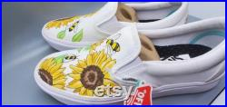 Custom Painted Vans Sunflower and Bumble Bee Shoes Vans or Converse Kids Mens Womens Slip on Lace Up