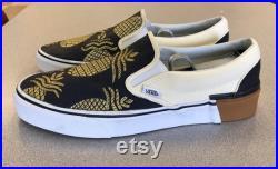Custom Pineapple Vans Navy Blue and Gold