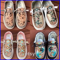 Custom Preorder for tooled leather Hey Dude shoes Please Read Description Before Purchasing