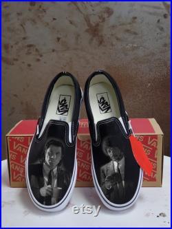 Custom Pulp Fiction Inspired Black Slip On Vans (Vincent Vega Jules)
