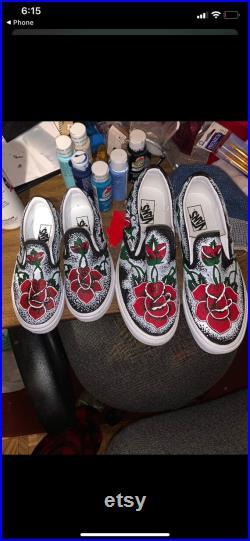 Custom Rose Painted Vans