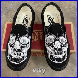 Custom Slip On Vans Skeleton Skull Head