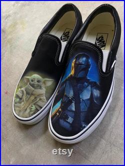 Custom Star Wars The Mandalorian Slip On Vans (Baby Yoda) Color