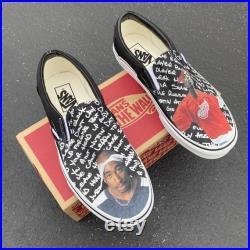 Custom Tupac Shakur Vans Slip On Shoes Men's and Women's Shoes