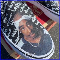 Custom Tupac Vans Slip On Shoes