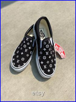 Custom Vans Black and White, Christmas Gifts, Custom Shoes, Custom Christmas Gift