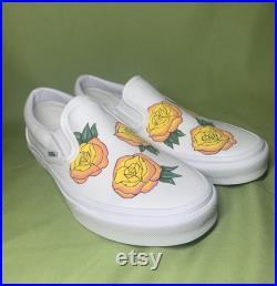 Custom Vans, Custom Flower Vans, Yellow Rose Vans