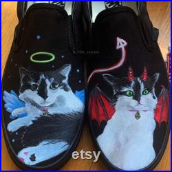 Custom Vans Shoes Handpainted Pet Portraits Angel and Devil Theme Cat lover, animal lover personalized gift, special gift, gift for him