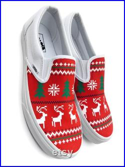 Custom Vans Ugly Christmas Sweater Canvas Shoes