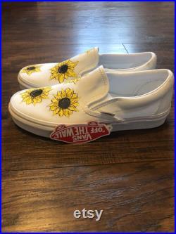 Custom White Slip On Vans