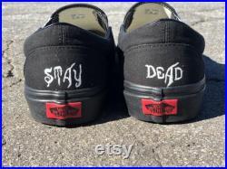 Custom black Slip on vans