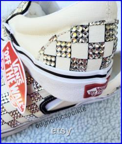 Custom bling checkered slip-on vans sneakers