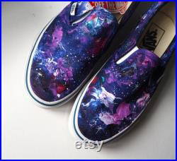 Custom galaxy slip ons, purple galaxy shoes, celestial shoes READY TO SEND, Size 5.5 us shoes, purple sneakers, galaxy gift ready, asap gift